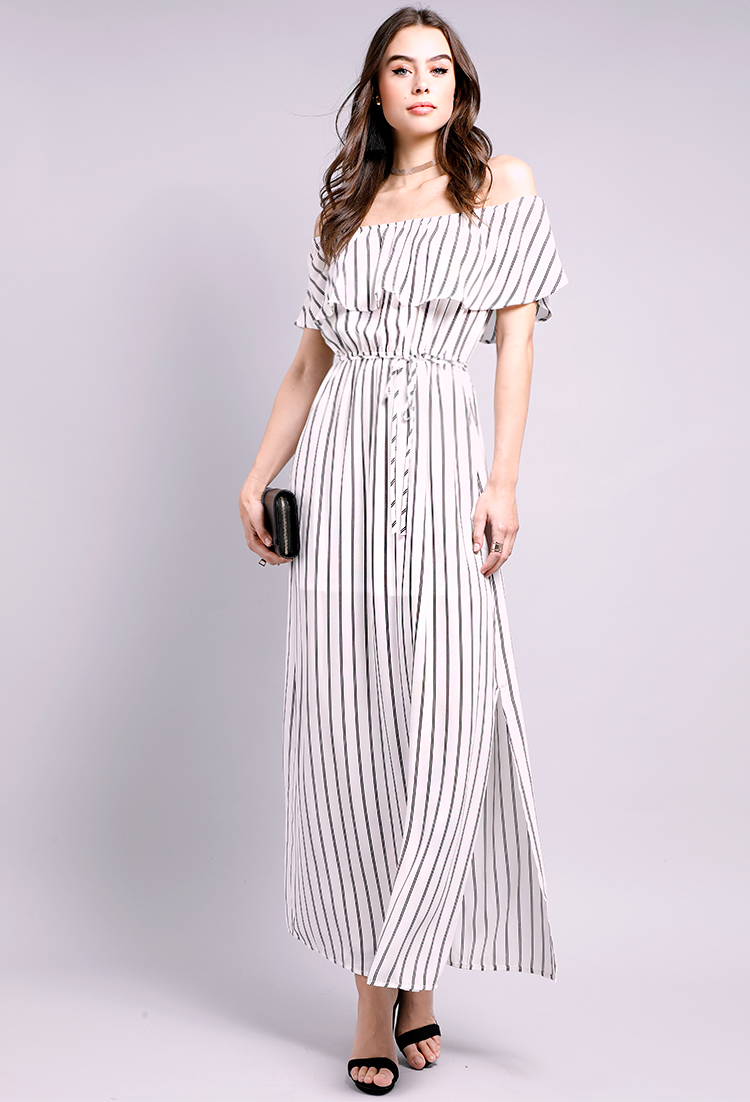 5e1c37107258 Striped Off-The-Shoulder Maxi Dress