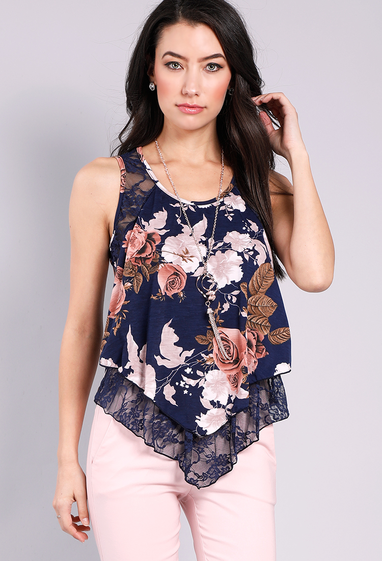 affd50d5951e5 Floral Lace Sleeveless Top W Necklace