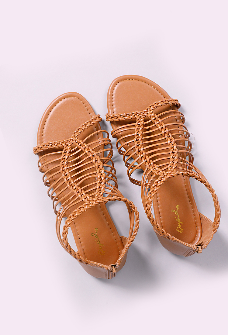 2d05afbae Faux Leather Braided Sandals