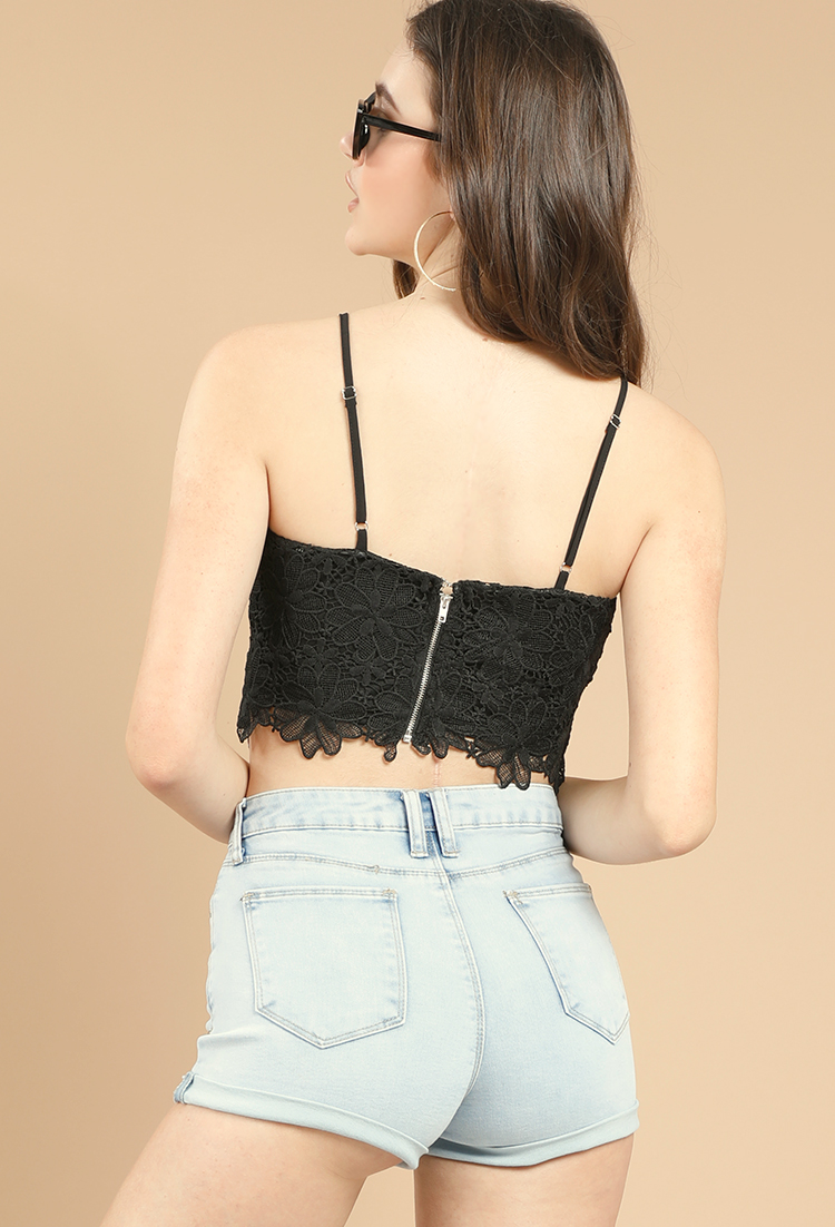 c00810907f380 Lace Rose Embroidered Crop Top ...