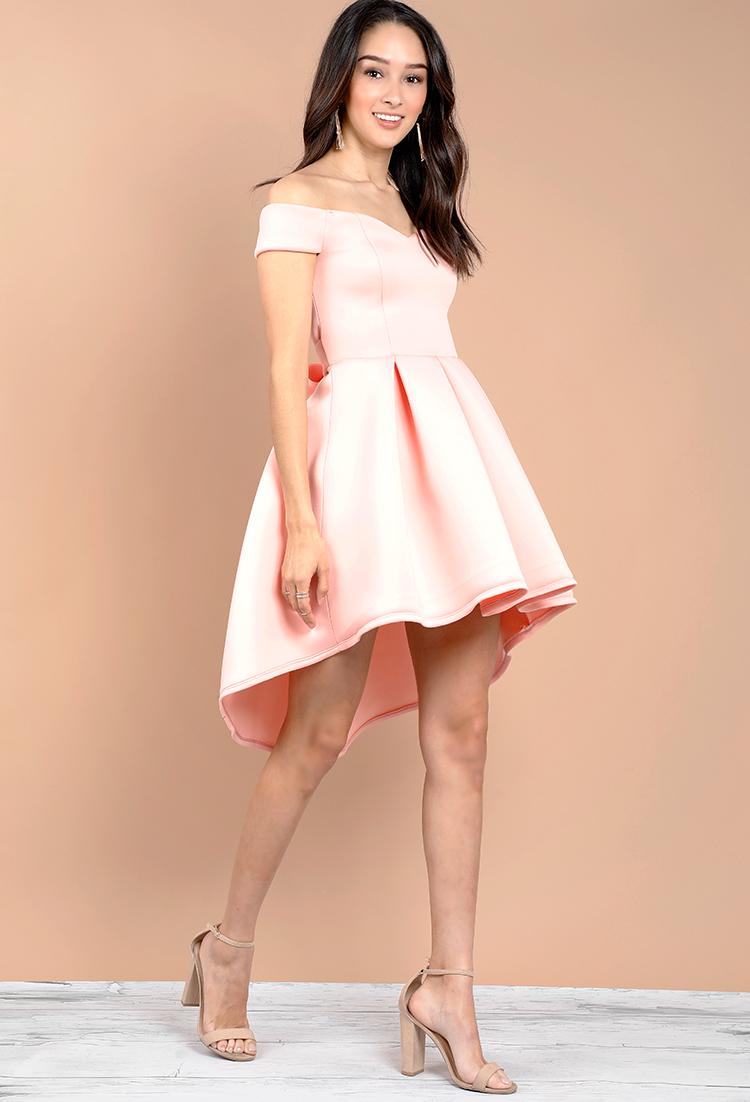 1033a78cb54b Off-The-Shoulder Pleated Tie-Front Dress   Shop Old End Of Summer at Papaya  Clothing