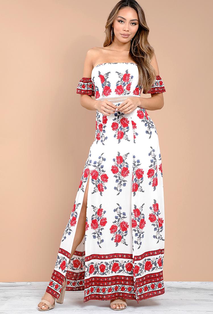 a945cb71c86 Off-The-Shoulder Floral Crochet Trim Maxi Dress