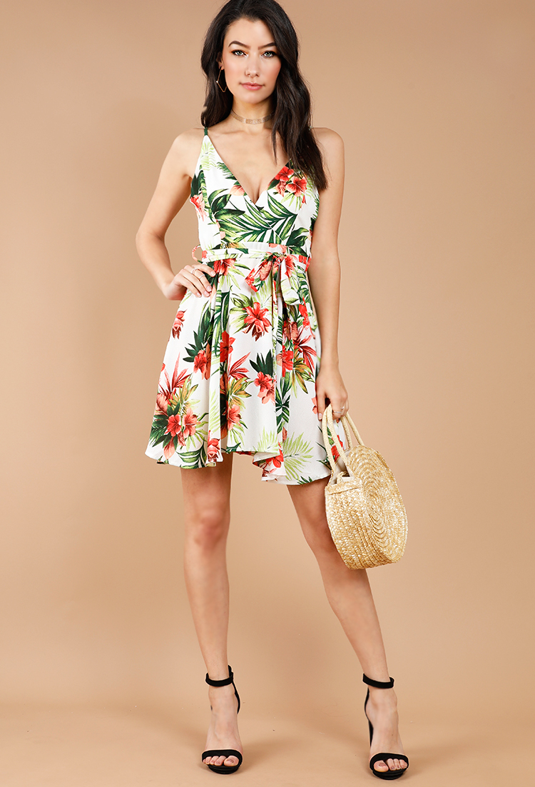 617e648676 Tropical Floral Surplice Tie-Front Dress