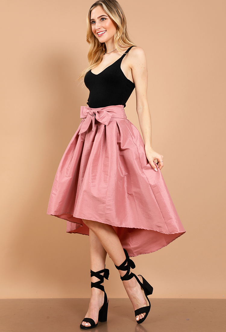 999b8b5a127a High Low Bow Satin Midi Skirt