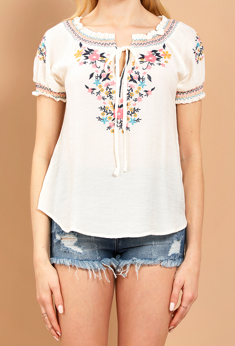 details for the best attitude save off Floral Embroidered Peasant Top | Shop Casual Tops at Papaya ...