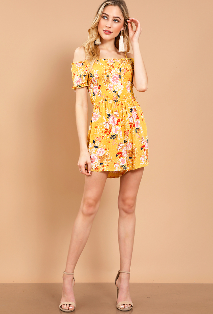 7cf63e608d48 Floral Smocked Off-The-Shoulder Mini Dress