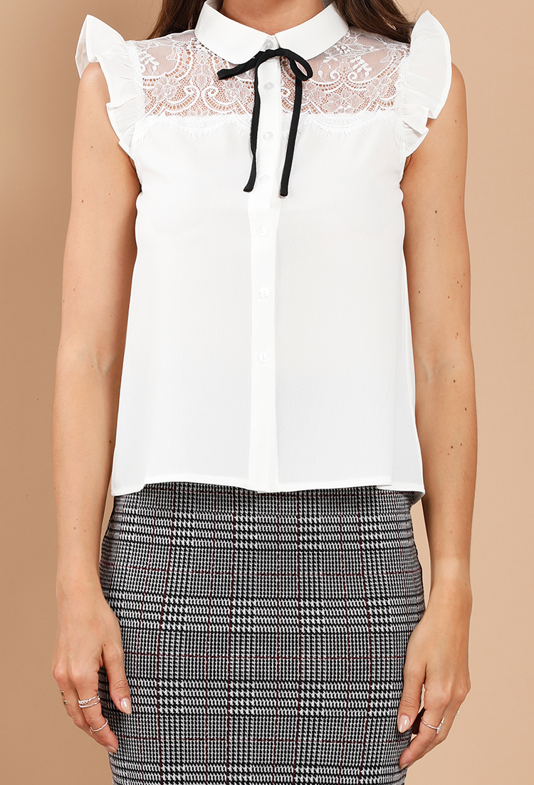 Lace Panel Tie Front On Down Blouse