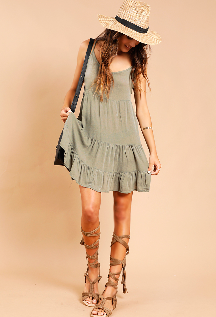 be4e8944406af Tiered Lace-Up Detail Swing Dress | Shop Old Dresses at Papaya Clothing
