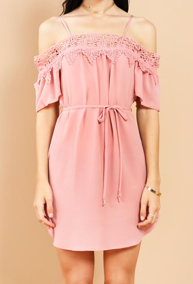 0902b58edd62 Crochet-Trim Off-The-Shoulder Tie-Waist Mini Dress