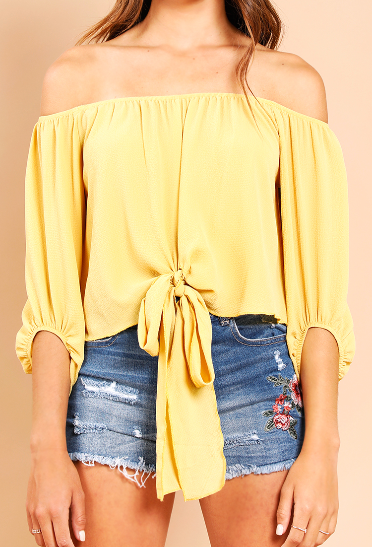 Front-Tie Off-The-Shoulder Blouse