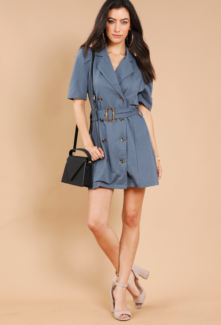ef3a0c68dfabb1 Contemporary Button Down Belted Trench Dress