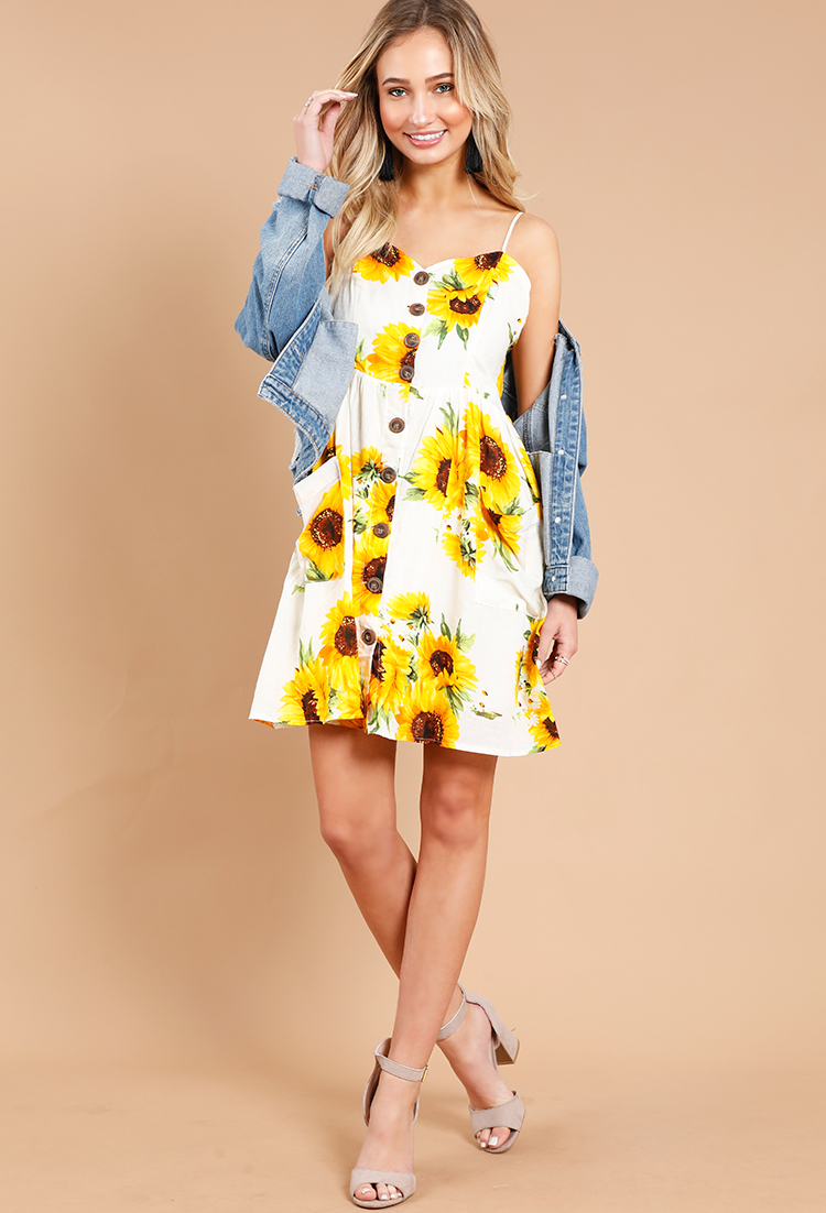 e841cee32 Sunflower Print Button-Down Dress | Shop Old Floral Dresses at ...