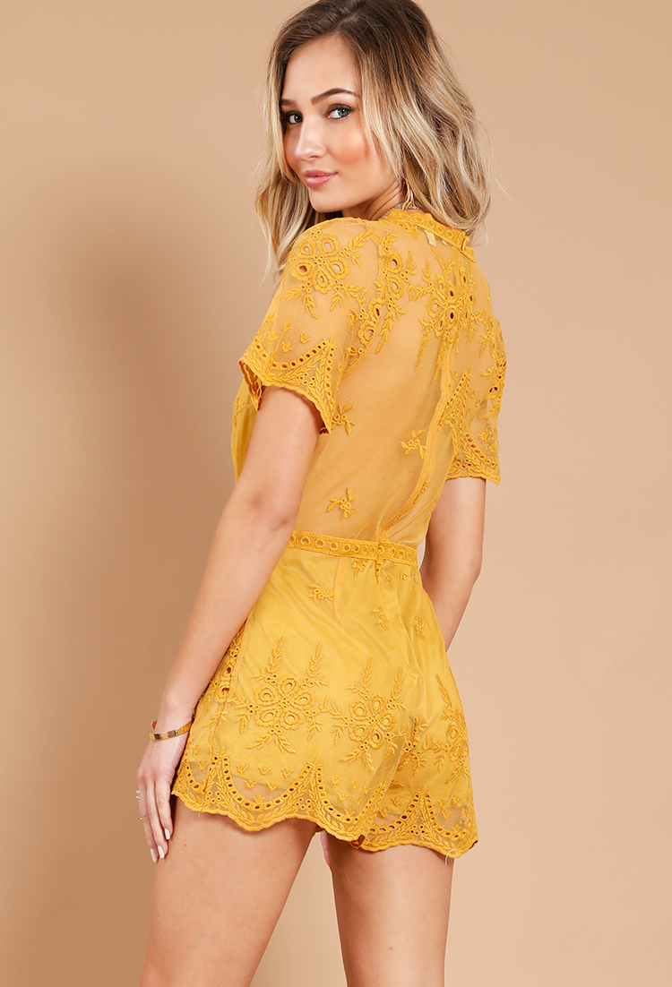 3db405697fc1 Sheer Lace Overlay Romper