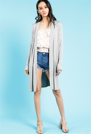Draped Open Front Cardigan