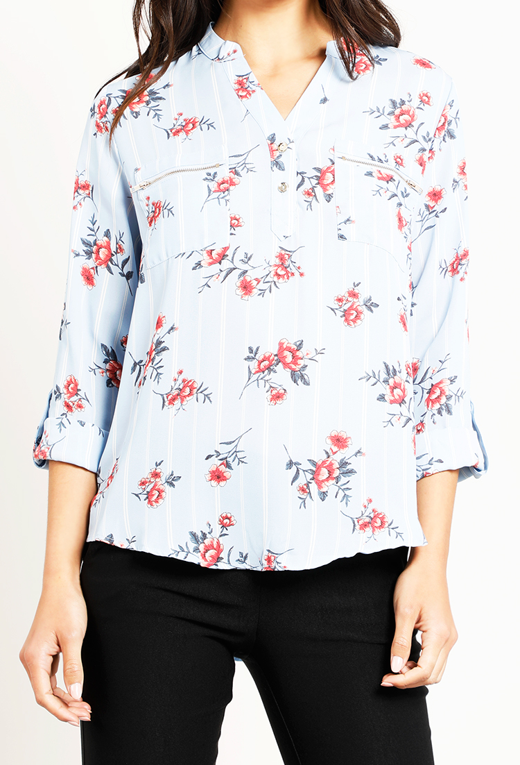 Striped Floral Blouse