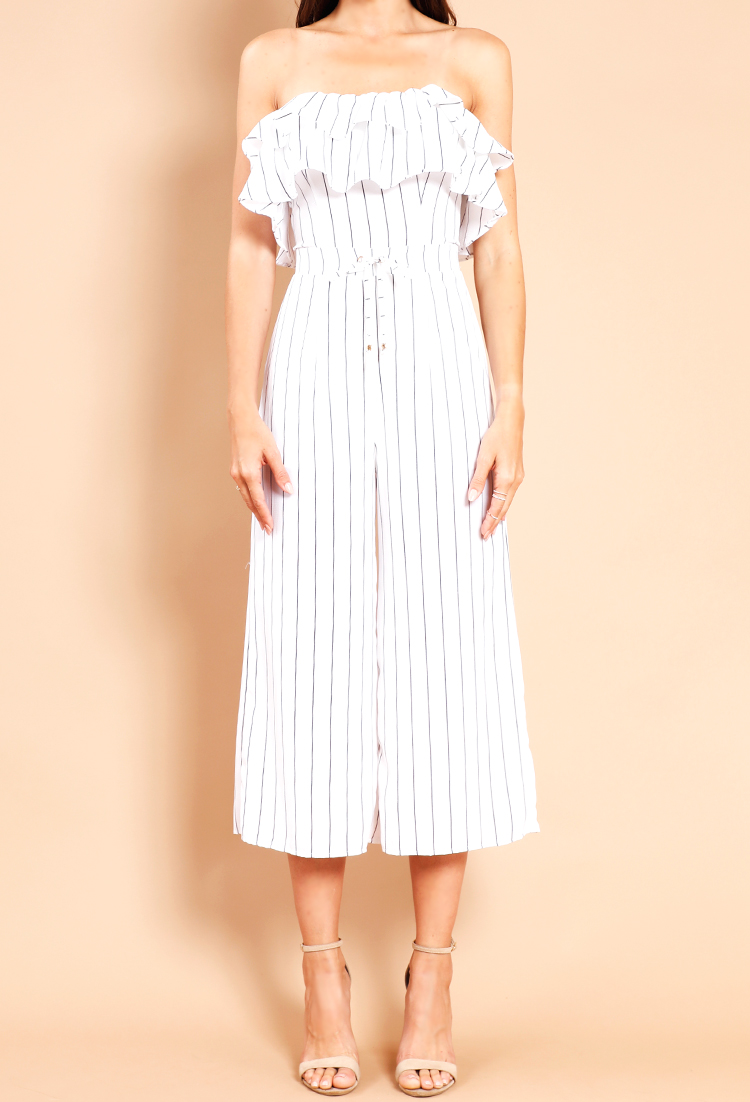 8a61e1f63e6 Striped Ruffle Off-The-Shoulder Jumpsuit