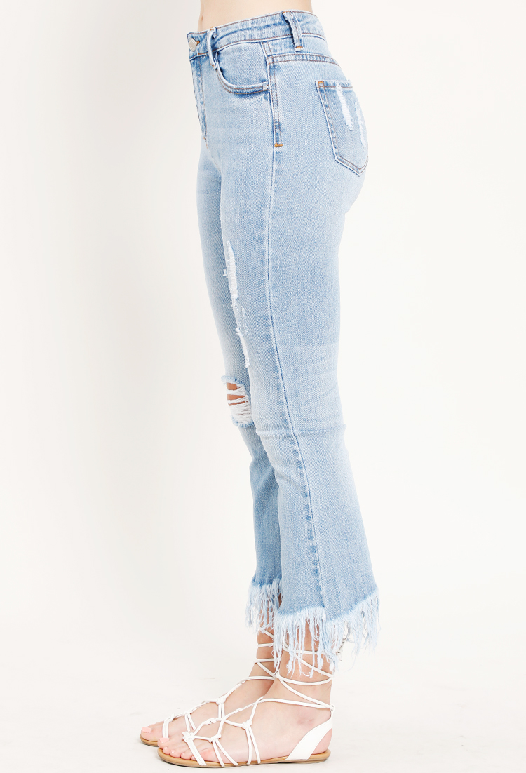 Fringe Accented Distressed Skinny Jeans