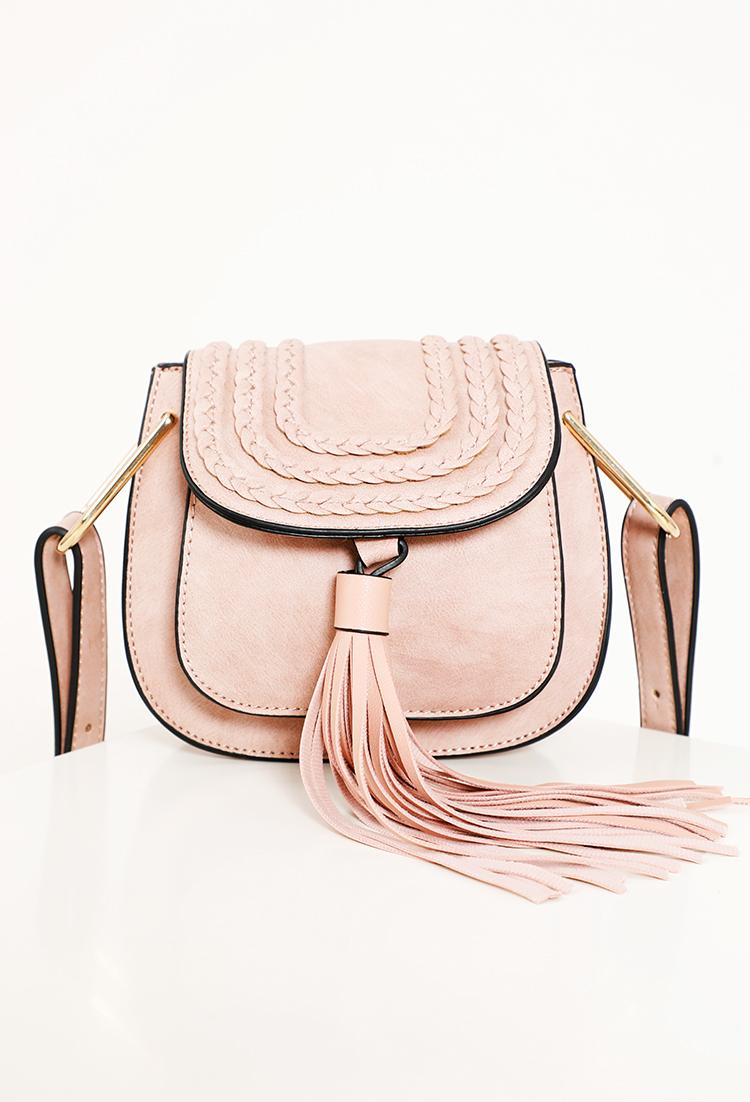 f4a894ebbc Faux Leather Braided Tassel Crossbody Bag