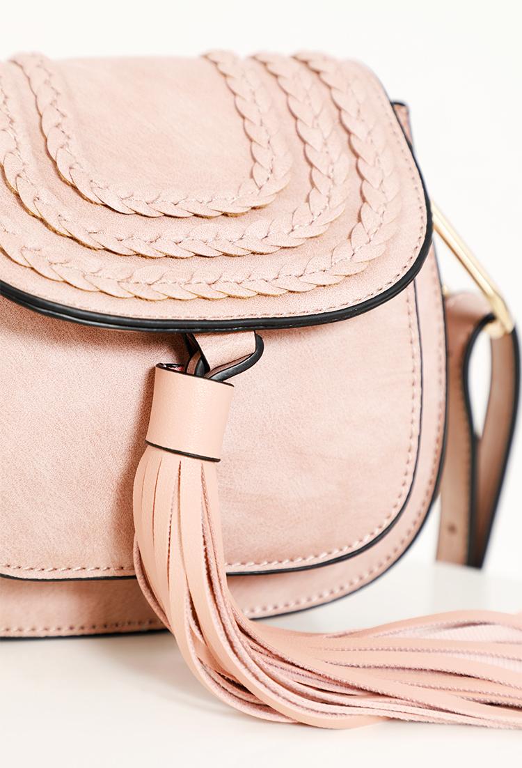 062ba55b50 ... Faux Leather Braided Tassel Crossbody Bag ...
