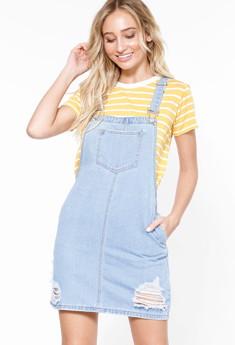 f2e65efbf9 Distressed Denim Overall Dress | Shop Old Dresses at Papaya Clothing
