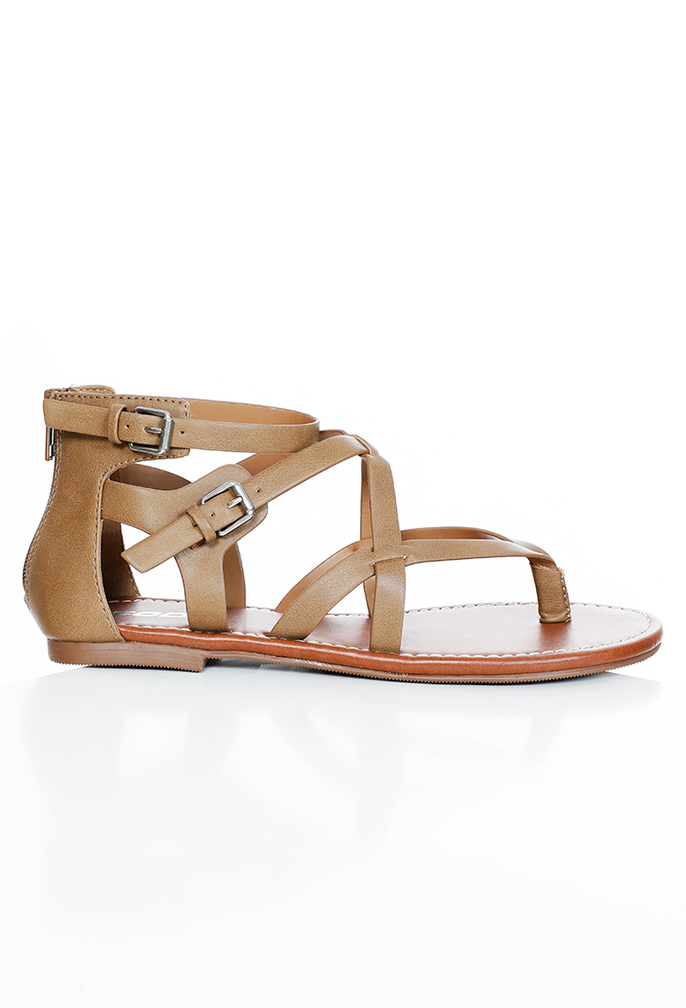 Faux Leather Wraparound Sandals