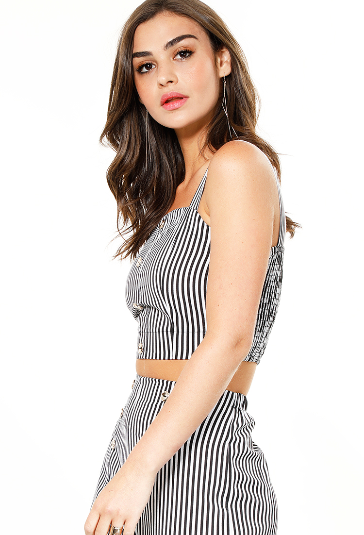 Smocked Back Accented Stripe Print Crop Top