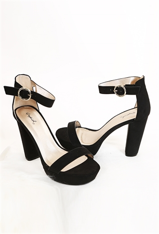 Faux Shuede Ankle Strap Heels