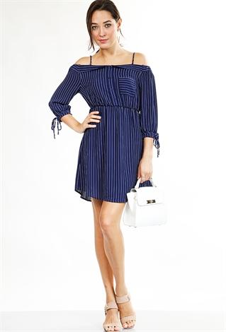 19aa1b4bf90b9 Cold Shoulder Striped Chiffon Dress | Shop Old Dresses at Papaya ...
