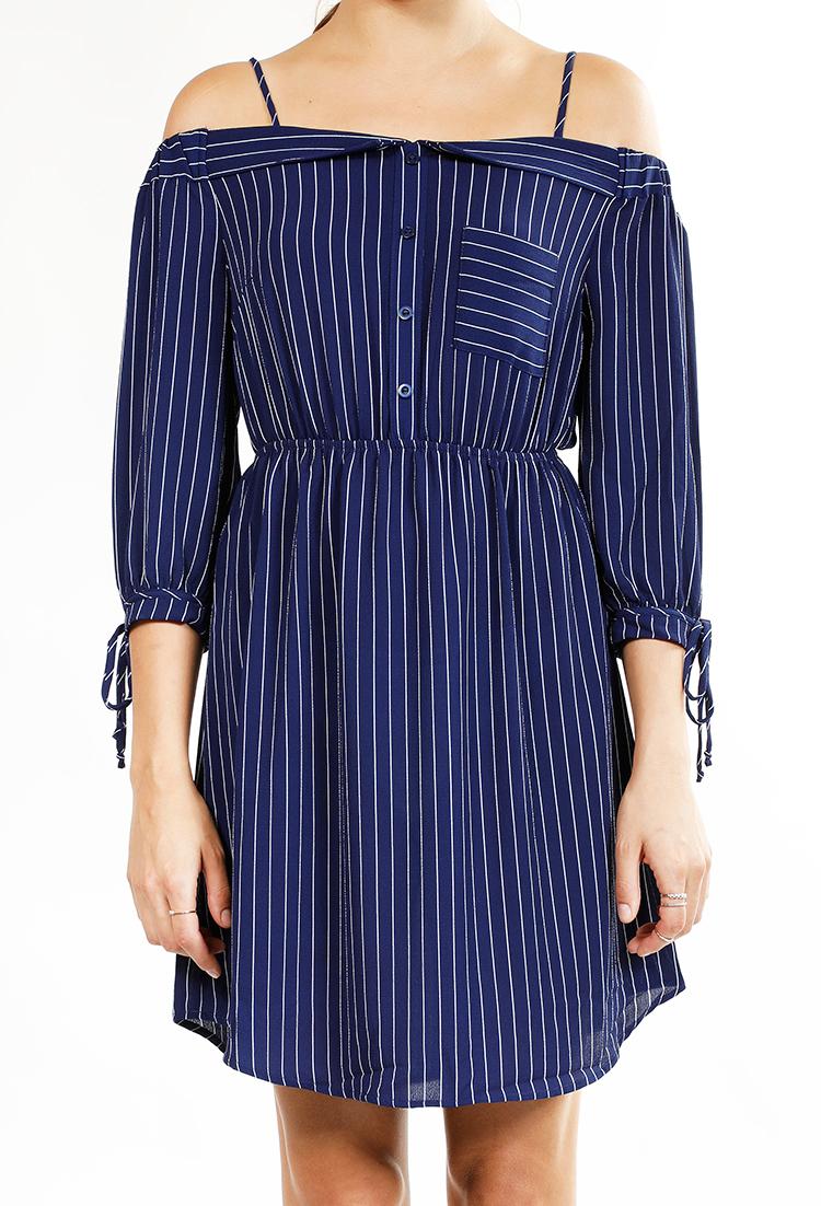 0578789d1471b Cold Shoulder Striped Chiffon Dress | Shop Old Midi Dresses at Papaya  Clothing