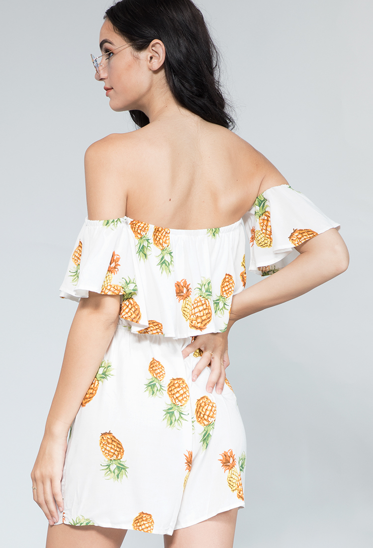 8cfc640fc49c ... Off The Shoulder Pineapple Graphic Romper