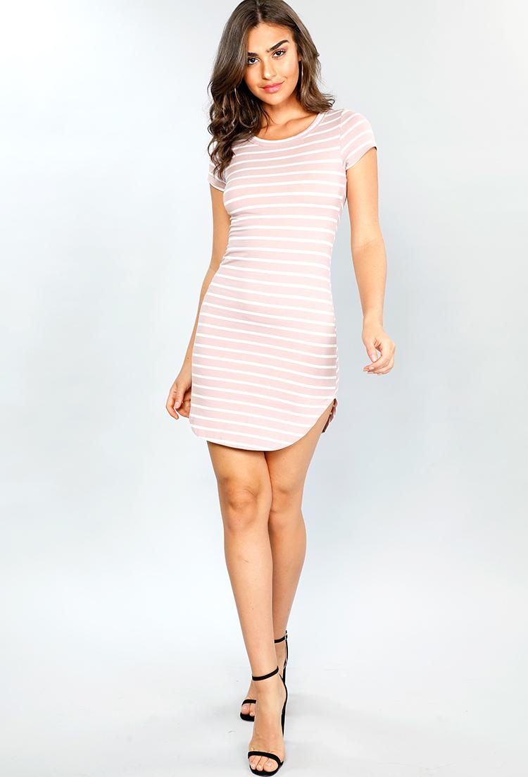 Striped Bodycon T Shirt Dress Shop Sale Items Under 10 At Papaya