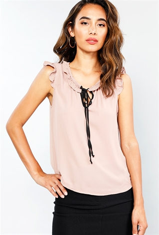 Front Tie Top With Ruffled Neck Detailing