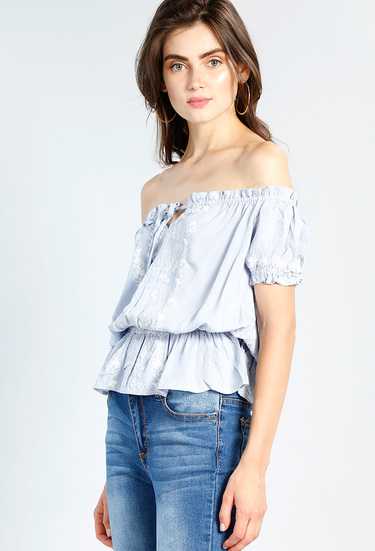 Floral Embroidered Front Tie Top