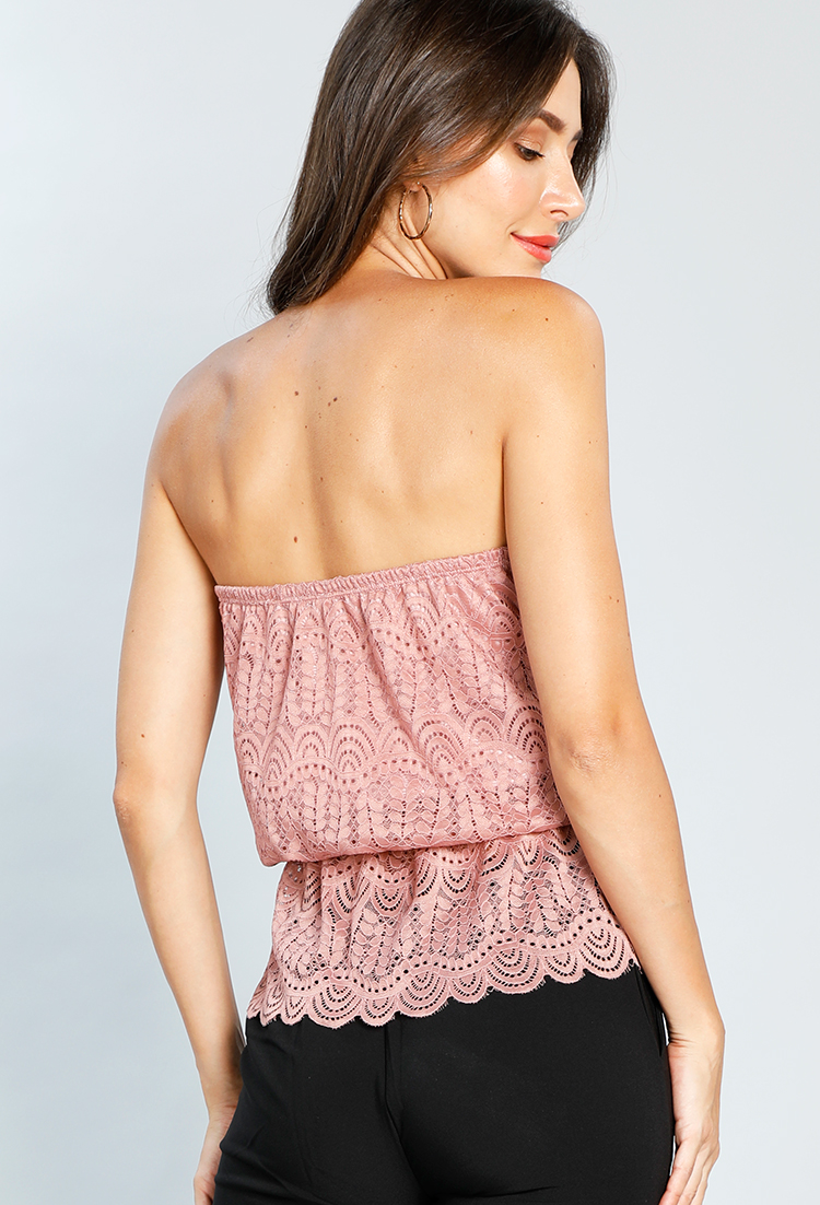 Peplum Lace Detail Dressy Top