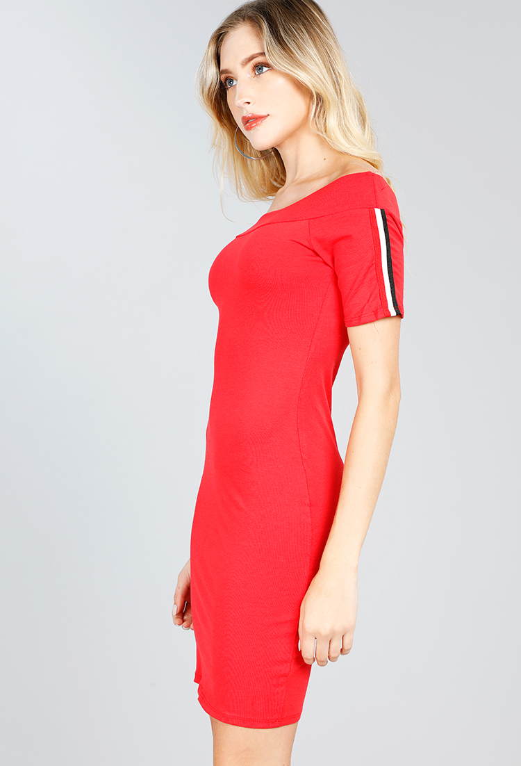 Side Lined Off-The-Shoulder Bodycon Dress