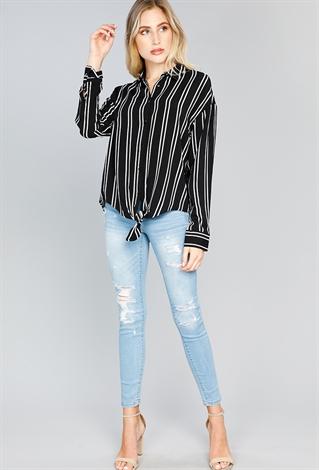 Striped Long Sleeve Blouse Shop Dressy Tops At Papaya Clothing
