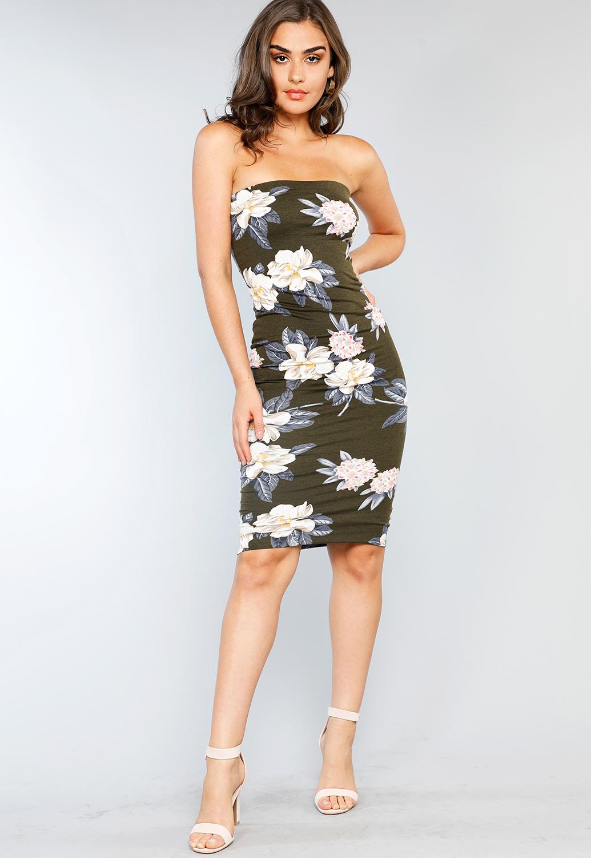 9b51d34ba7b2 Flower Patterned Tube Top Mini Dress | Shop Bodycon at Papaya Clothing