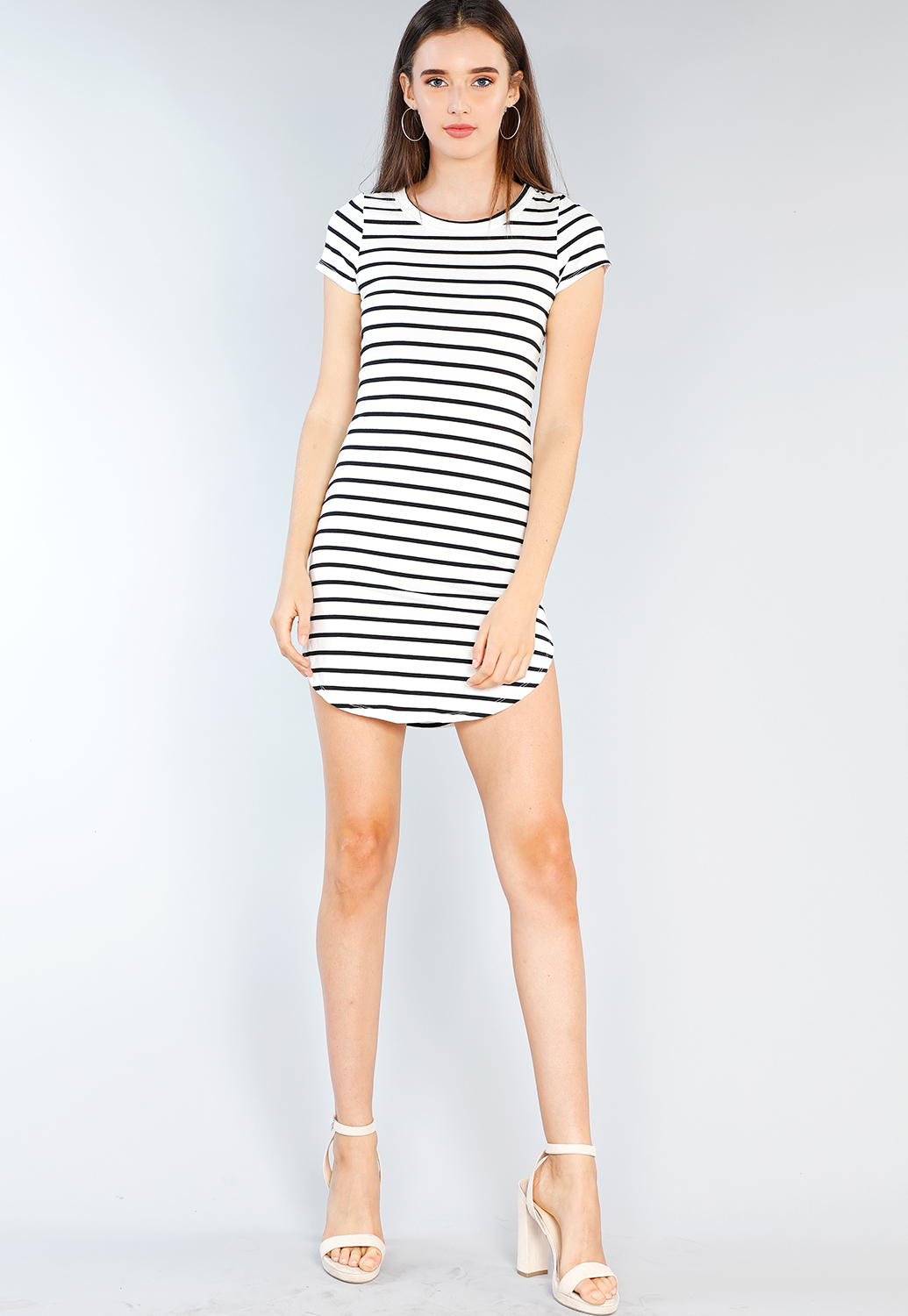 Striped Bodycon T Shirt Dress Shop Dressy Tops At Papaya Clothing