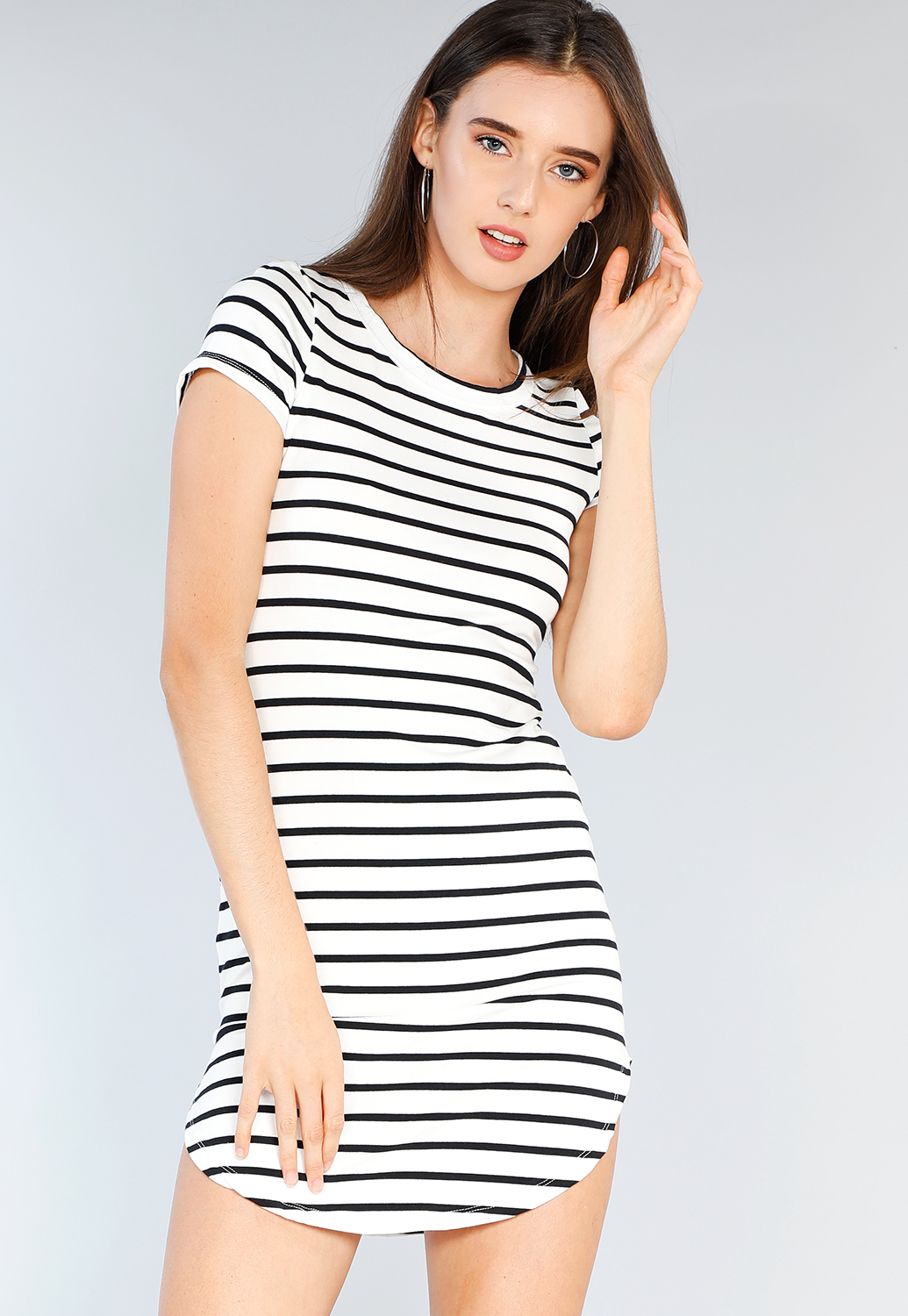 Striped Bodycon T Shirt Dress Shop Old Dressy Tops At Papaya Clothing