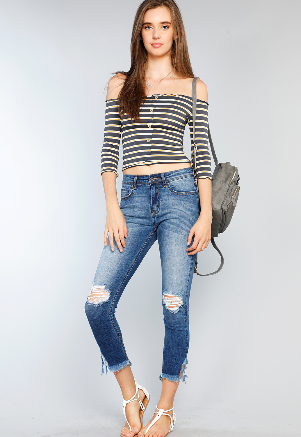 1f36490f9ce Striped Button Detailed Crop Top   Shop Off-The-Shoulder at Papaya Clothing