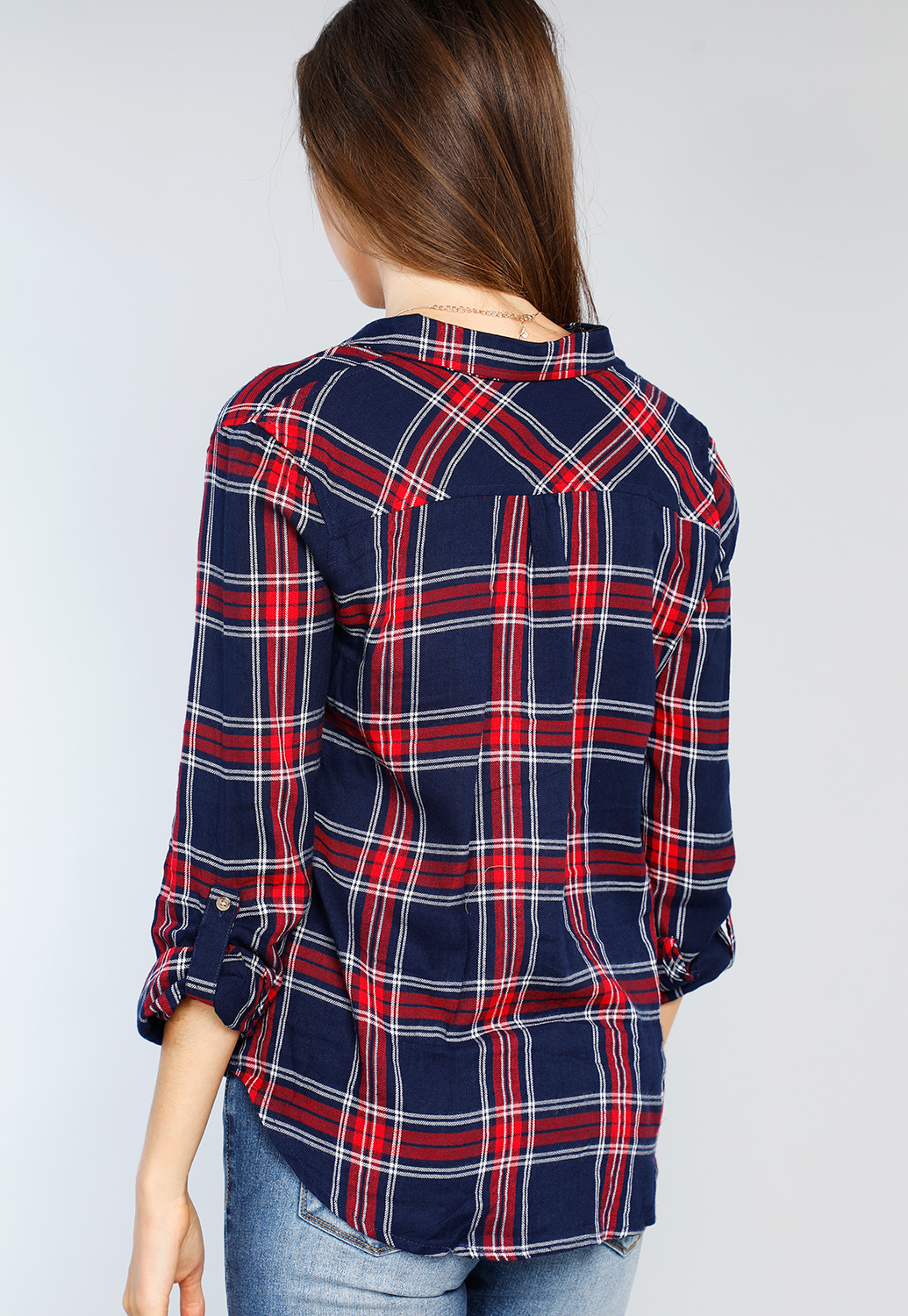 Plaid Long Sleeve Flannel Blouse