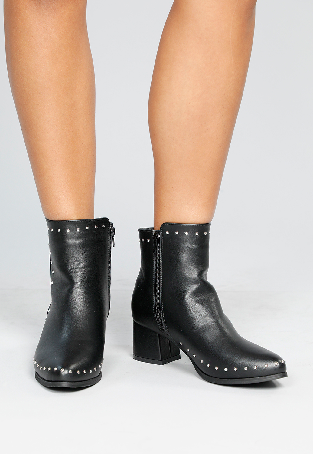 Faux Leather Studded Ankle Boots