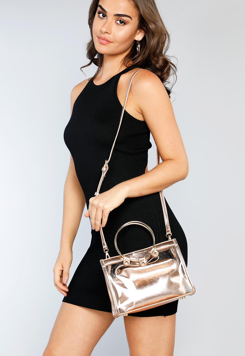 Clear Metalic Cross Body Bag
