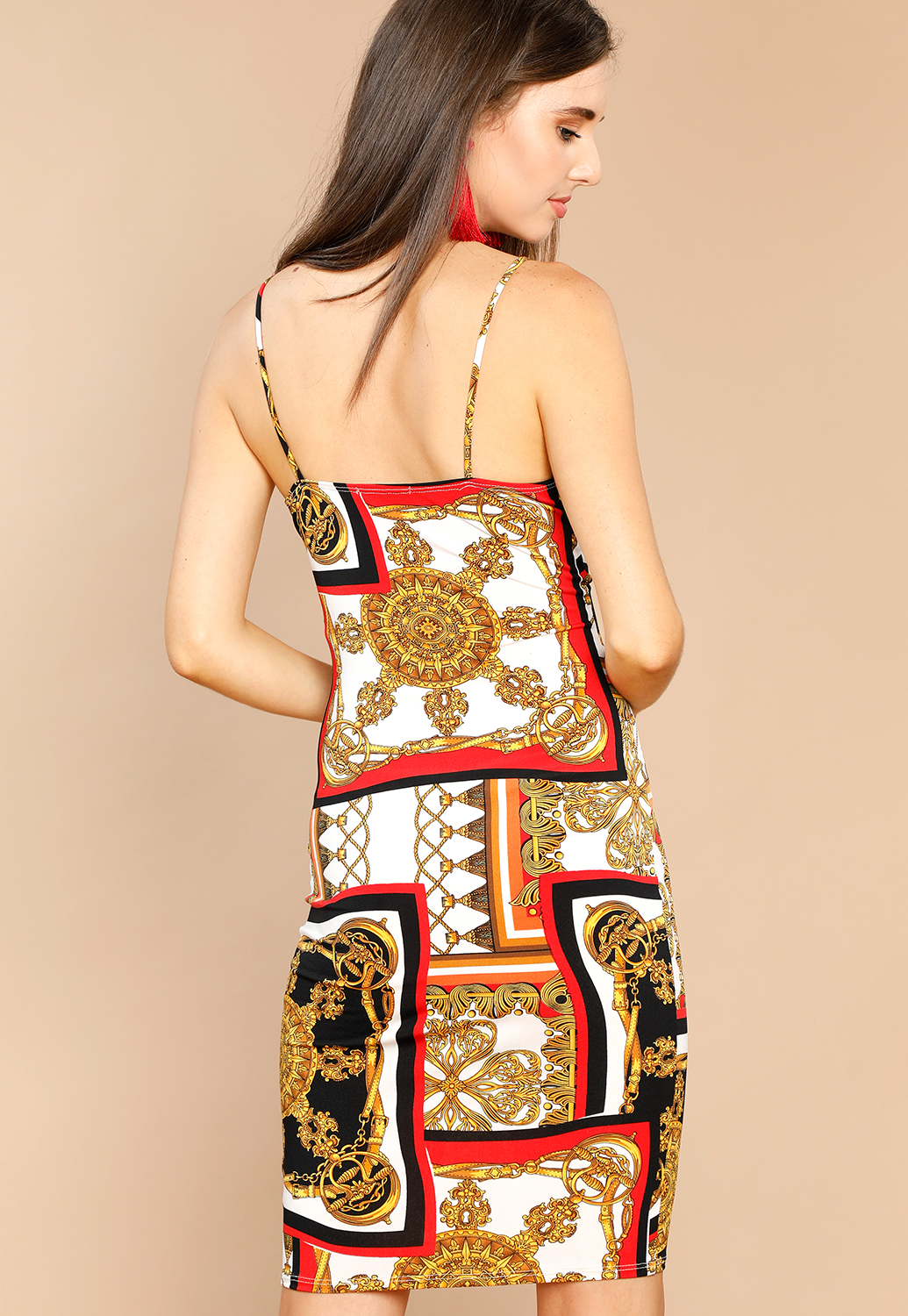 Ornate Pattern Bodycon Dress