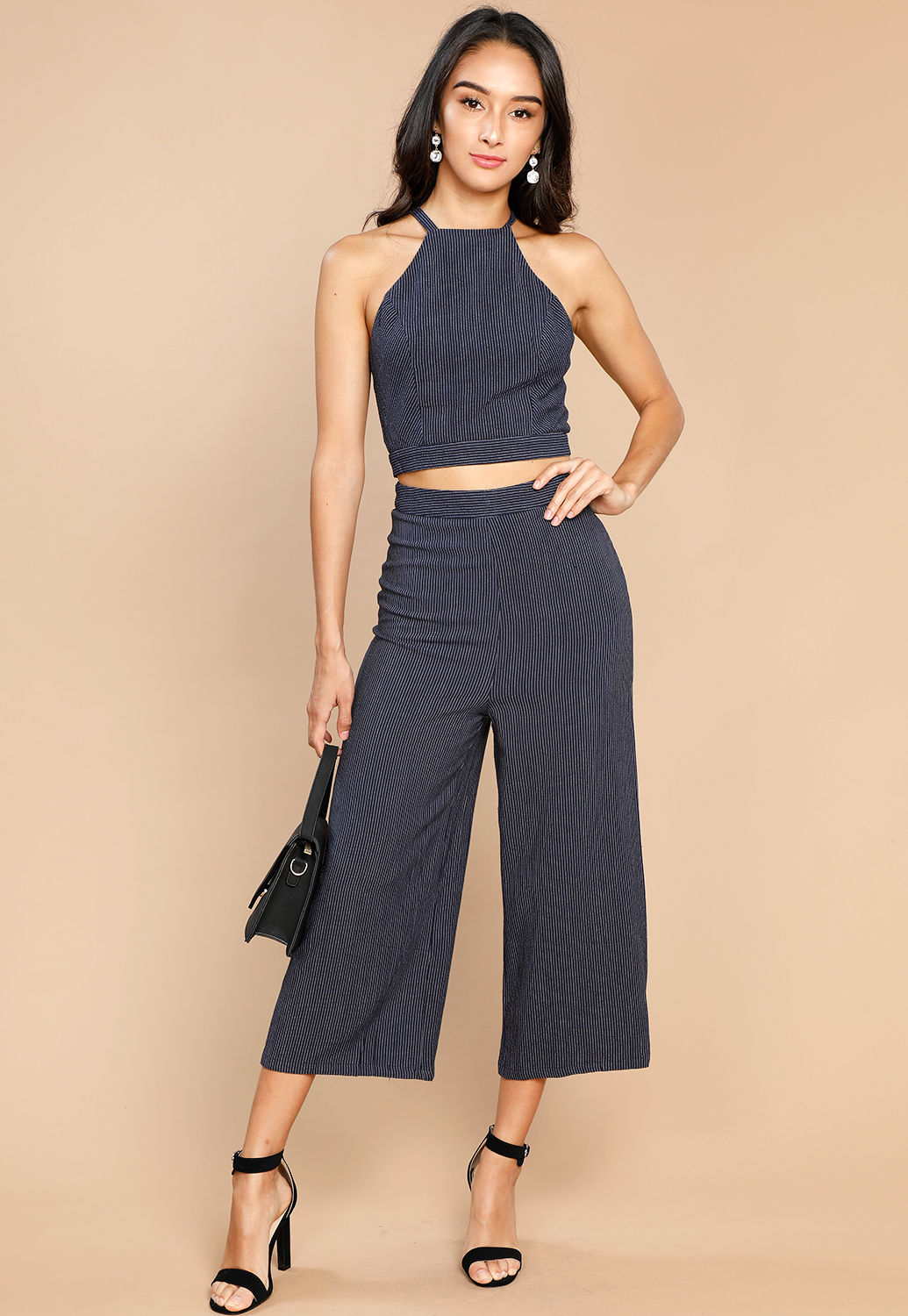 Striped Embroidered Wide Leg Pants