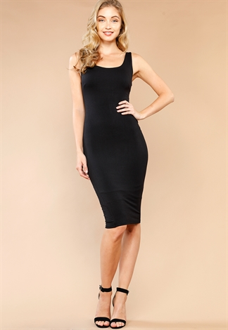 Back Zipper Up Bodycon Dress