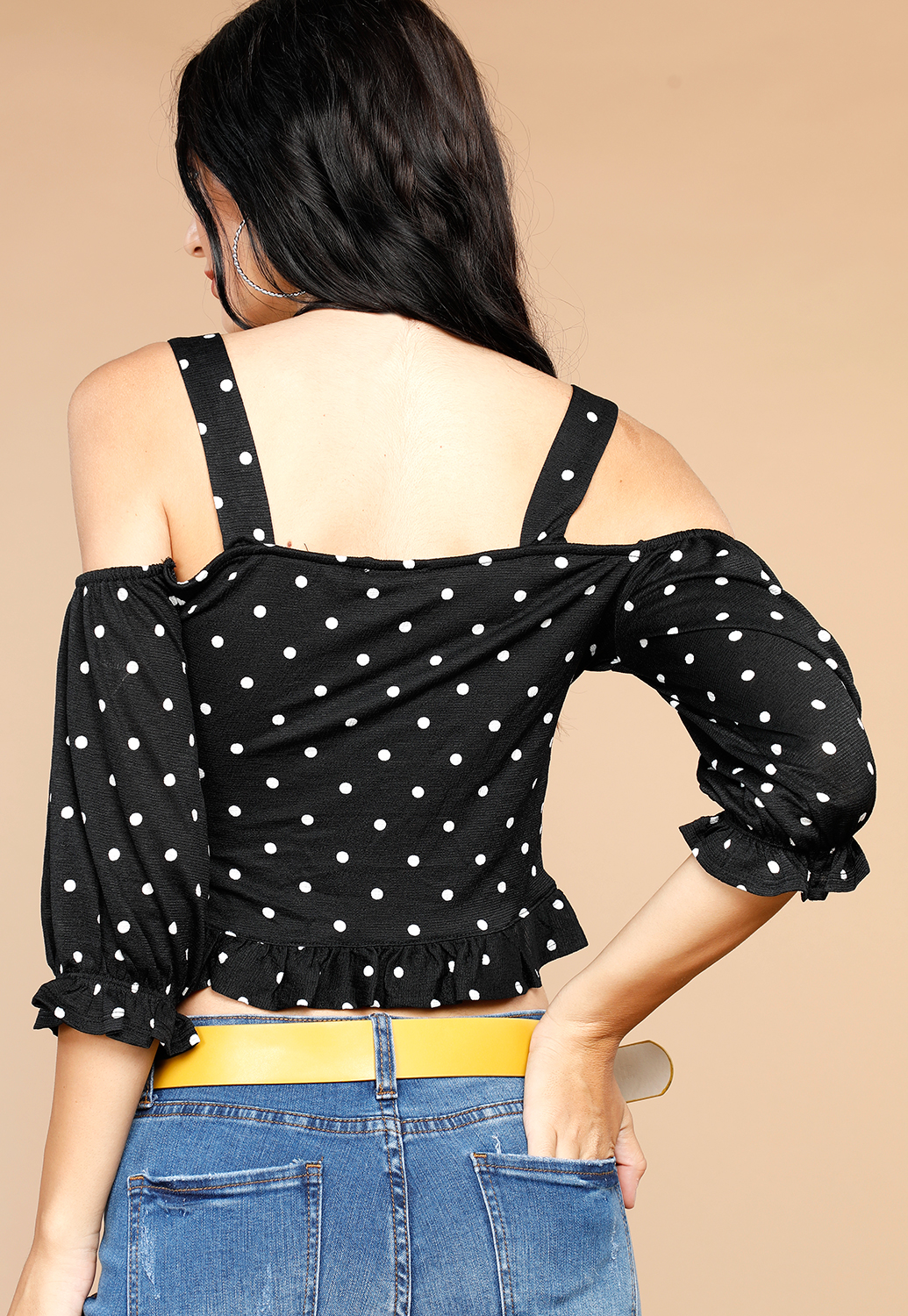 Polka Dot Open Shoulder Top