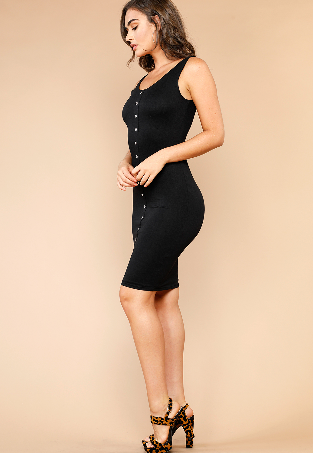 Button-Front Bodycon Dress