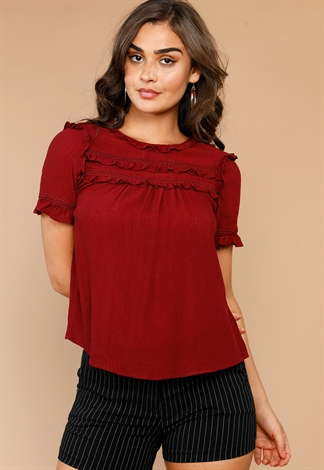 Ruffle Detail Casual Top