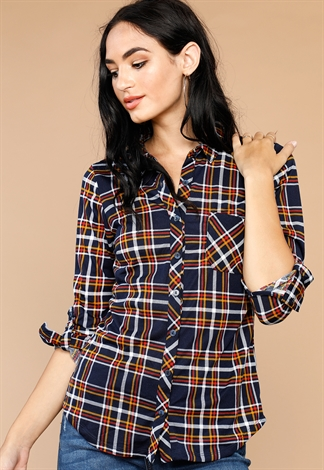 Plaid Flannel Roll-Up Sleeve Top